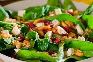 receta de ensalada de espinacas y achicoria con vinagreta de harina de grillo